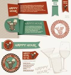 Happy hour collection vector