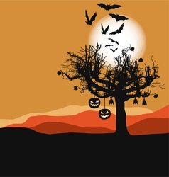 Halloween - scary tree in full moon vector
