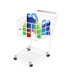 Engine oil packaging in shopping cart vector