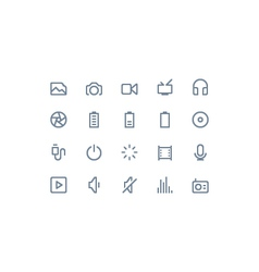 Multimedia icons line vector