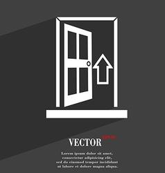 Door enter or exit icon symbol flat modern web vector