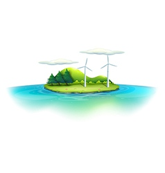 An island with windmills vector