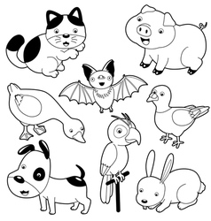 Cute animals black and white set vector