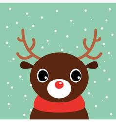 Cute cartoon christmas deer on snowing background vector