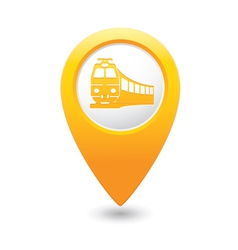 Train icon on map pointer yellow vector