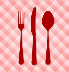 Red kitchen cutlery vector