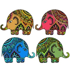 Stylized fantasy patterned elephants in indian vector