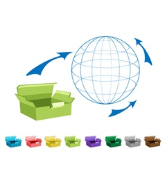 Empty cardboard boxes for freight transportation vector