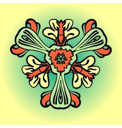 Stylized flower in orange and green color vector