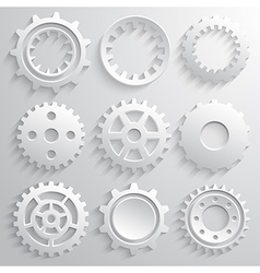 Gear wheels icon set nine 3d gears on a gray vector