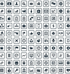 100 business icons set vector