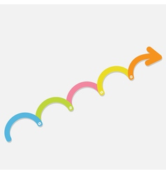 Colorful timeline up upwards arrow with screw vector
