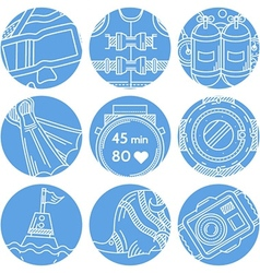 Round blue icons for diving vector