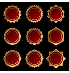 Set of golden blank seal wax stamp vector