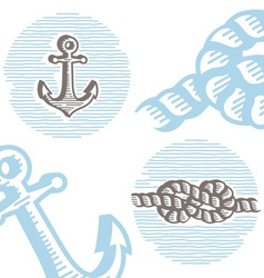 Vintage marine symbols icon set vector
