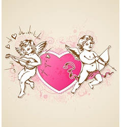 Vintage background with pink heart and cupids vector