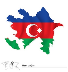 Map of azerbaijan with flag vector