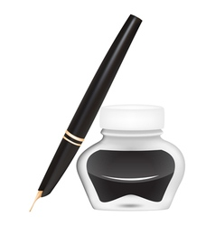 Ink pen with an open pen vector