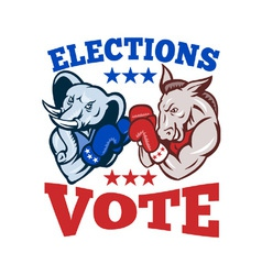 Democrat donkey republican elephant mascot vector