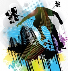 Skateboarder and an urban back vector