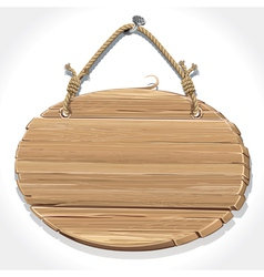 Wooden sign board with rope hanging on a nail vector