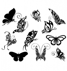 Set of tattoo butterflies vector
