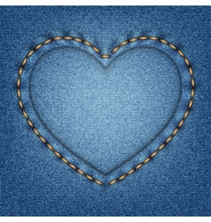 Denim texture with stitches in the shape of heart vector