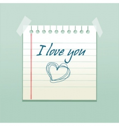 Love you note vector