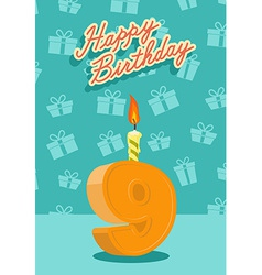 9 year happy birthday card vector