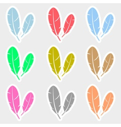 Various color feathers symbols stickers set eps10 vector