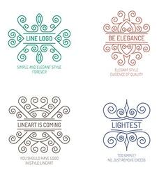 Line art emblems vector