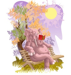 Reading elephant vector