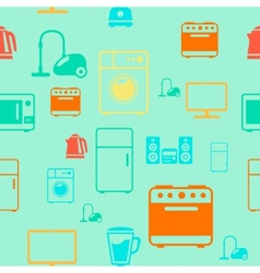 Kitchen appliances seamless pattern background vector