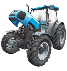 Tractor with open hood vector