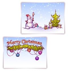 Christmas gate with snowman ant fir-tree vector