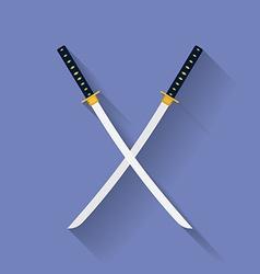 Icon of katana swords flat style vector