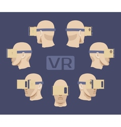 Cardboard virtual reality headset on the males vector