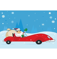 Santa driving his car vector
