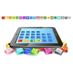 Tablet and icons vector