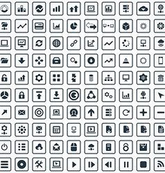 100 big data database icons set vector