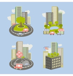 Icons about live nature in the city vector