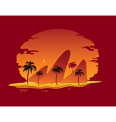 Abstract landscape of tropical beach vector