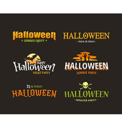 Halloween typography set 1 vector