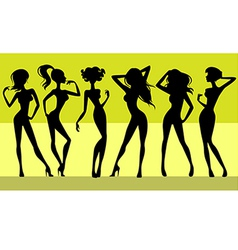 Six girls silhouettes vector