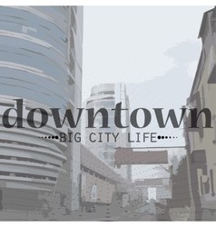 City life in perspective and text vector