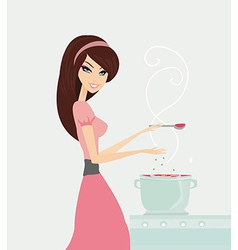 Beautiful lady cooking soup in the kitchen vector