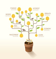 Infographic business money plant and coins flat vector
