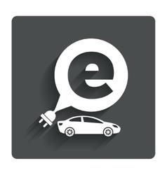 Electric car sign icon sedan saloon symbol vector