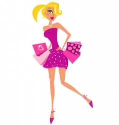 Romance shopping woman in pink vector