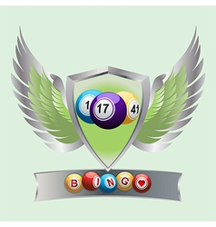 Bingo balls on a shield and banner vector